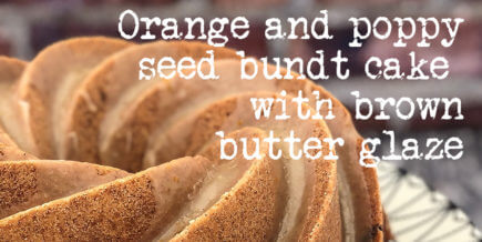 Orange and poppy seed bundt cake with brown butter glaze