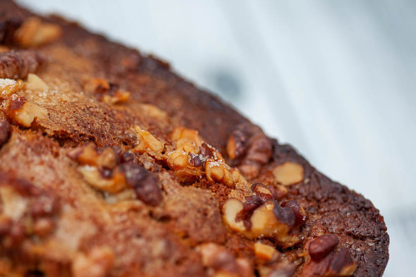 sourdough banana bread crust with walnuts and sugar