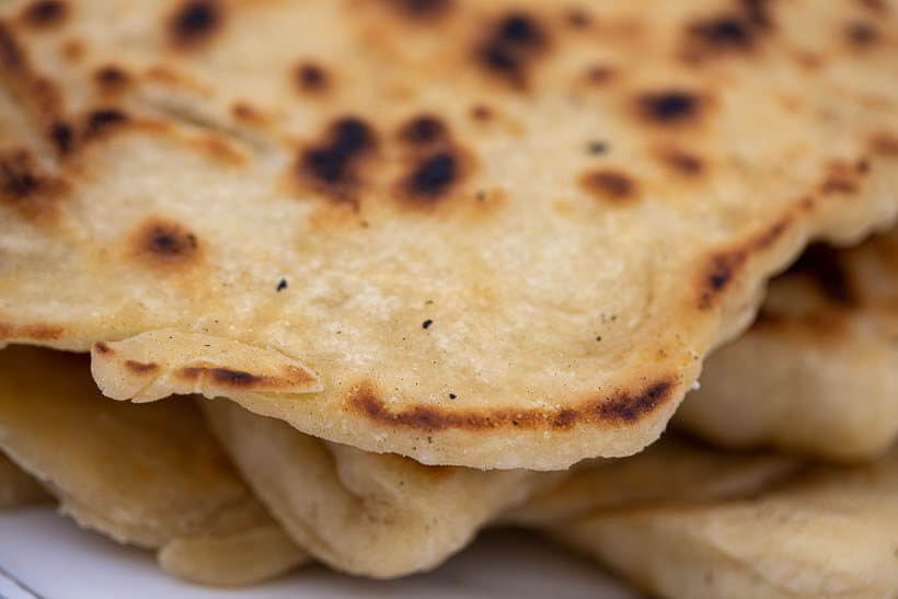 Closeup of sourdough naan bread - Recipe for delicious flatbread