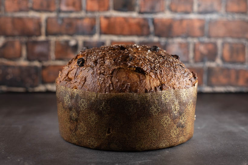 Super easy sourdough panettone in front of a brick wall