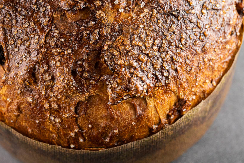 Easy sourdough panettone crispy crust with pearl sugar