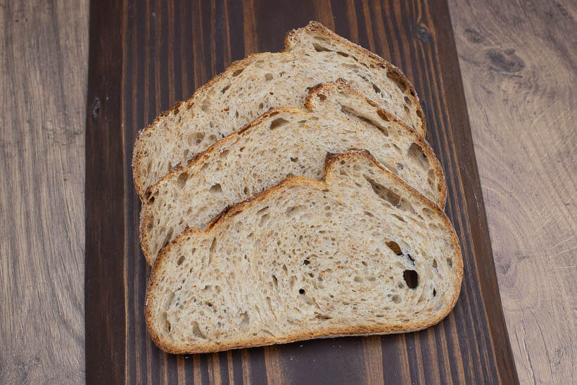 The crumb of the artisan sourdough bread made with this recipe