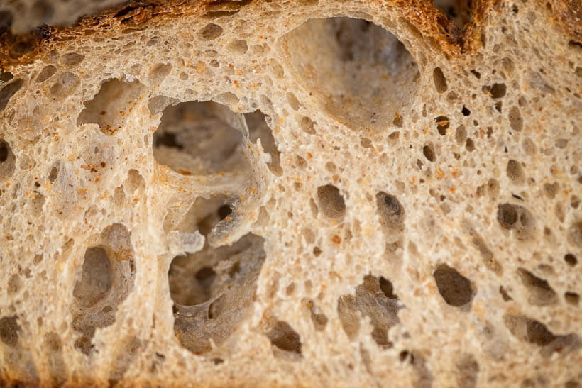 Gorgeous open crumb from this sourdough bread stand mixer recipe