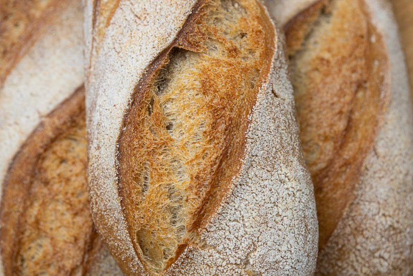 The wonderful crispy crust on the baguettes in this recipe