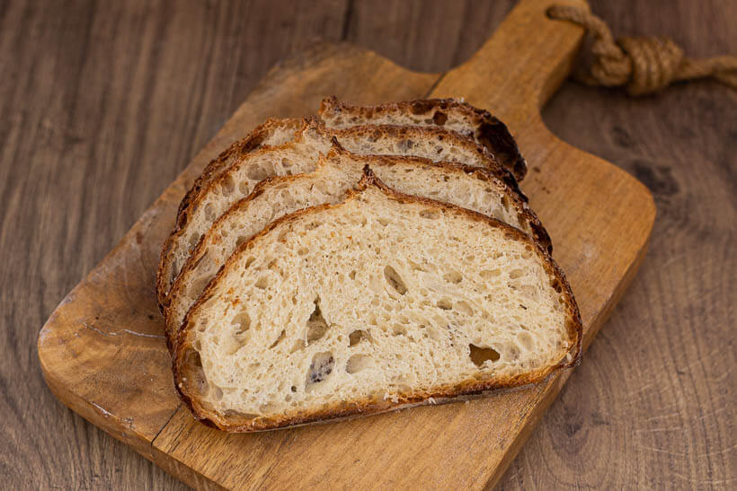 The soft and open crumb in this yeasted artisan bread recipe